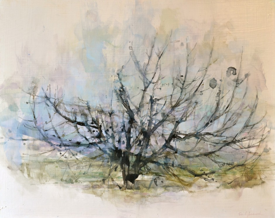 Fog tree, 16 x 20, ink and oil on panel, 2011, $2,000