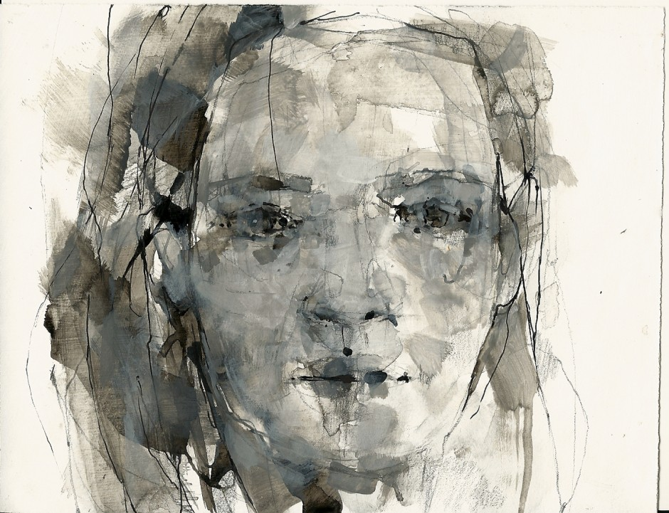 Girl in ink and gesso, 5 x 7, mixed on paper