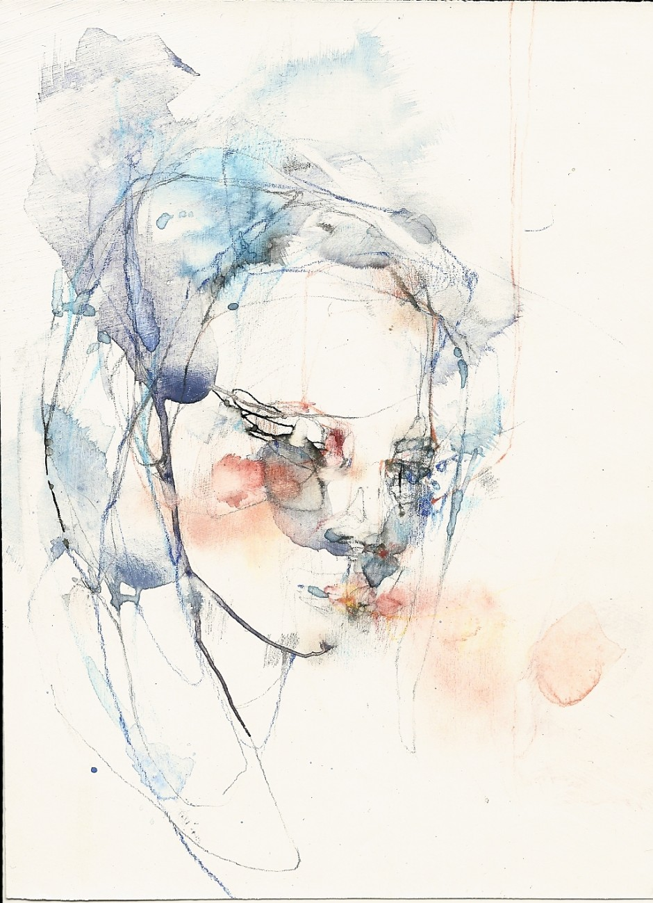 "Girl looking down in orange and blue, 4"" x 6"", mixed media on paper"